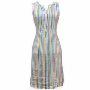 Chadwicks Pastel Striped Linen Shift V neck Small